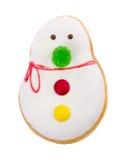 Beignet, pâtisserie de bonhomme de neige sur le fond Photo libre de droits