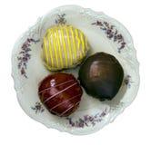 Beignet spécial de la confiture trois rempli de gelée de framboise de vanille, advocaat, chocolat images libres de droits