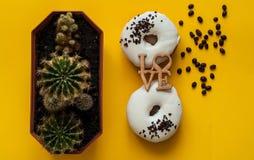 Beignet vitré de blanc avec les bonbons noirs à chocolat avec de petits cactus Configuration plate Concept créatif de nourriture  Photo stock