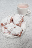 Beignets and Cafe Au Lait. At Cafe Du Monde Royalty Free Stock Photos