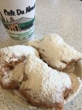 Beignets at Cafe du Monde, New Orleans Royalty Free Stock Photos