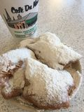 Beignets at Cafe du Monde, New Orleans Royalty Free Stock Images