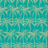Beigr outline palm trees on the green mint background. Vector seamless pattern. Tropical illustration. Jungle foliage Stock Photo