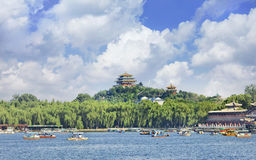 Beihai lake with blue sky and dramatic clouds, Bejing, China Stock Photography