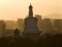 Beihai Stupa Pagoda Sunset Beijing China Stock Photography
