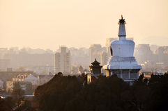 Beihai Stupa Sunset Mountains Royalty Free Stock Photos