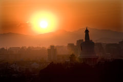 Beihai Stupa Sunset Mountains Beijing China Stock Image