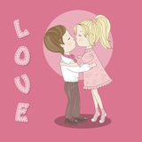Beijando adolescentes Imagens de Stock