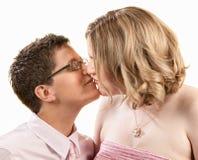 Beijando amigas fotografia de stock