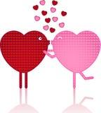Beijando corações Fotos de Stock Royalty Free