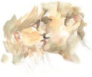Beijando o retrato dos pares ilustração stock