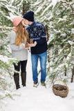 Beijando pares com os cones na cesta na floresta do inverno Imagens de Stock Royalty Free