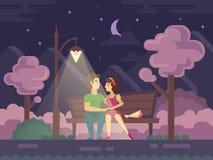 Beijando pares em um banco de parque na noite ilustração stock