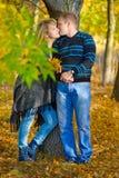 Beijando pares no parque do outono Imagens de Stock Royalty Free