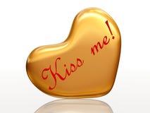 Beije-me no coração dourado Fotografia de Stock Royalty Free
