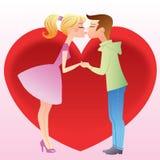 Beije primeiramente uma menina e um menino Foto de Stock Royalty Free