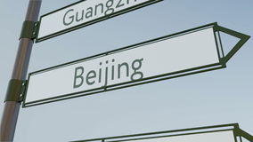 Beijin direction sign on road signpost with Asian cities captions. Conceptual 3D rendering. Beijin direction sign on road signpost with Asian cities captions Stock Photography