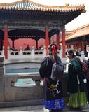 Beijin, Vietnam - March 30, 2019: Women wearing traditional kimono in a temple in the Forbidden city stock photos