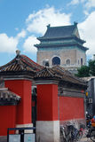 Beijing. Chinese building of Drum tower with bikes royalty free stock image