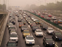 Beijing Air Pollution And Traffic Royalty Free Stock Photos