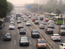 Beijing Air Pollution And Traffic Royalty Free Stock Photography