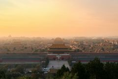 Beijing ancient Forbidden City in morning at Beijing, China. royalty free stock image