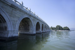 Beijing the 17-Arch Bridge in Summer Palace garden Stock Photography