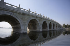 Beijing the 17-Arch Bridge in Summer Palace garden Royalty Free Stock Images