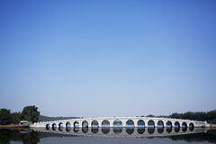 Beijing the 17-Arch Bridge in Summer Palace garden Stock Photos