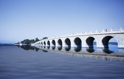 Beijing the 17-Arch Bridge in Summer Palace garden Royalty Free Stock Image