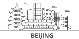 Beijing architecture line skyline illustration. Linear vector cityscape with famous landmarks, city sights, design icons. Editable strokes vector illustration