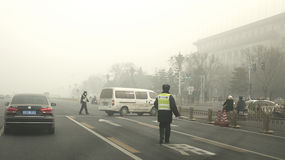 Beijing authorities boost the second smog alert red level Stock Images