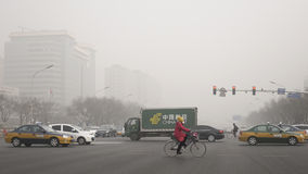 Beijing authorities boost the second smog alert red level Royalty Free Stock Images
