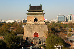 Beijing Bell Tower viewed from the Drum Tower Royalty Free Stock Photo