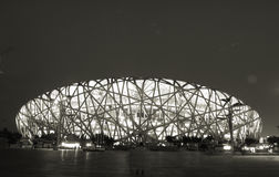 Beijing BIRD NEST Night black and white photo. The Beijing National Stadium, also known as the bird's nest was the main track and field stadium for the 2008 Royalty Free Stock Images