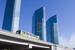 Beijing: bus running on elevated road royalty free stock photography