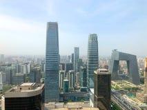 Beijing CBD area with CCTV Beijing tower. stock photo