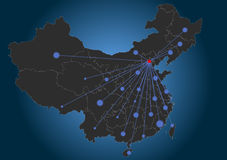 Beijing centered China Map Stock Image