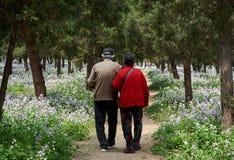 Free Beijing, China, April 12, 2017: Happy Senior Asian Couple Walking Stock Images - 195305524