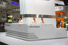 Beijing China April 27,Miss Manners information. Beijing China April 27,Miss Manners in the information desk in Auto china 2012 exhibition Royalty Free Stock Image