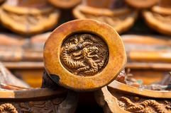 Dragon detail on roof tile, Forbidden City, Beijing Royalty Free Stock Image