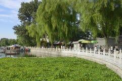 Beijing. China - August 22, 2009: People walking in Houhai Park royalty free stock photo