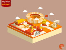 Beijing China,Beijing city design in perspective. Cute design of Beijing city consist of Forbidden City,Temple of Heaven,Tiananmen Square,Beijing National Royalty Free Stock Image