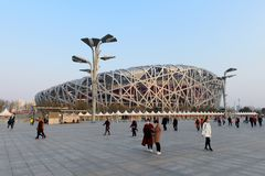 Beijing China Bird Nest National Stadium. Beijing, CHINA - 22 MAR, 2018: China National Stadium in Beijing called Bird Nest which has been used in the 2008 Stock Images