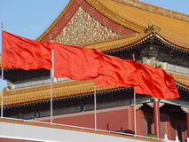 Beijing China - Chinese Flags. In Beijing, China, Tiananmen Square / Beihai Park, Forbidden City Stock Photo