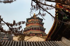 BEIJING, CHINA - DEC 25, 2017: New summer palace of Beijing framed with brunches and buildings stock image