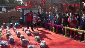 Beijing,China-Feb 2, 2014: People play games for winning prizes at temple fair in Ditan Park during Chinese Spring Festival. Beijing,China-Feb 2, 2014: People