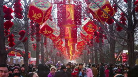 Beijing,China-Feb 2, 2014: thousand of people have fun at temple fair in Ditan Park during Chinese Spring Festival in Beijing,. China stock video footage