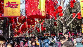 Beijing, China-Feb 2, 2014: Thousands of people visit temple fair in Ditan Park during Chinese Spring Festival in Beijing,. China