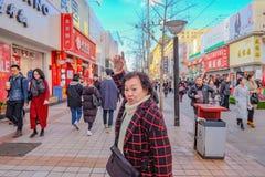 Unacquainted chinese people or touristin Walking near wangfujing Walking street in beijing city,China travel stock photo